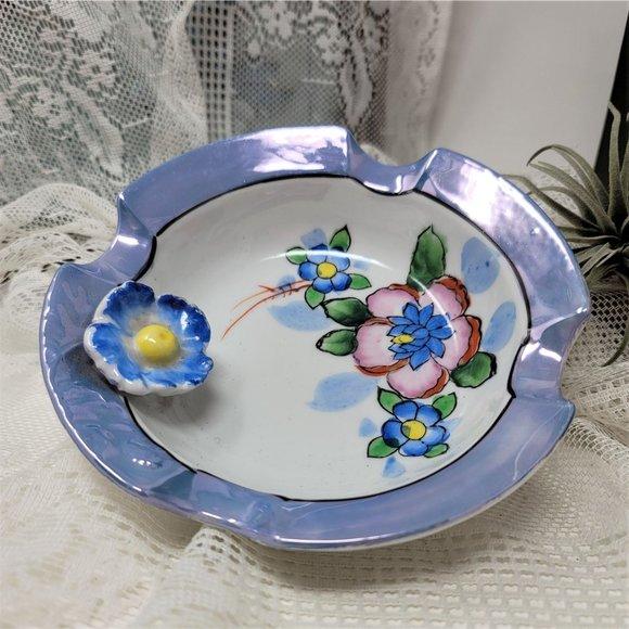 Vintage Ashtray Trinket Dish Raised Flower Japan